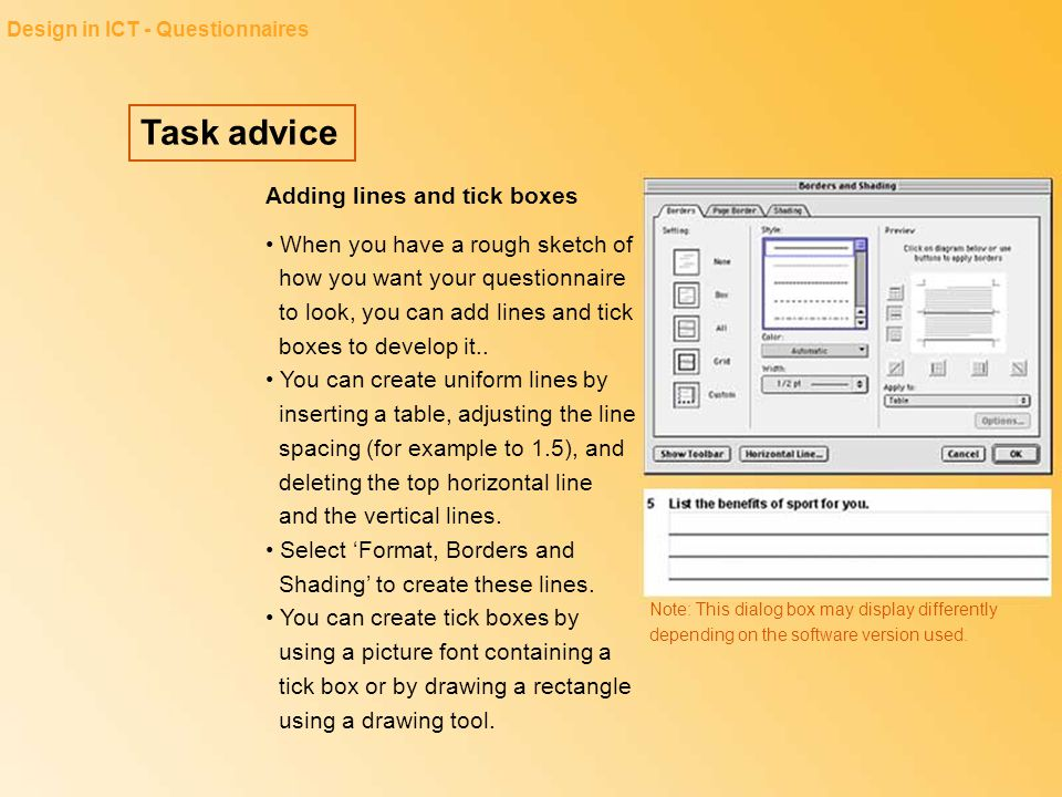 Task advice Adding lines and tick boxes