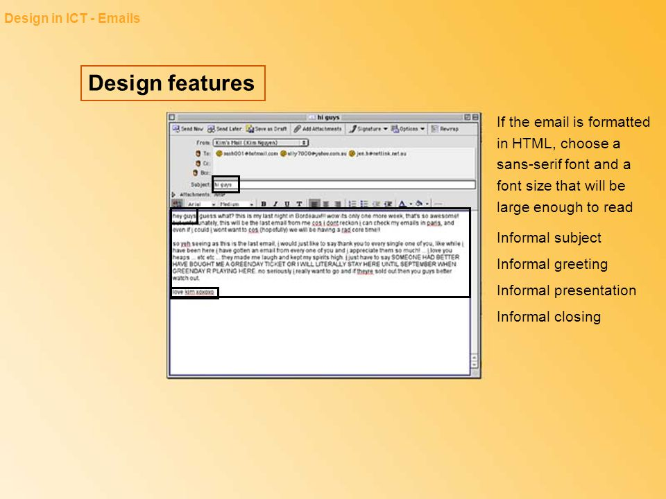 Design in ICT - Emails Design features.