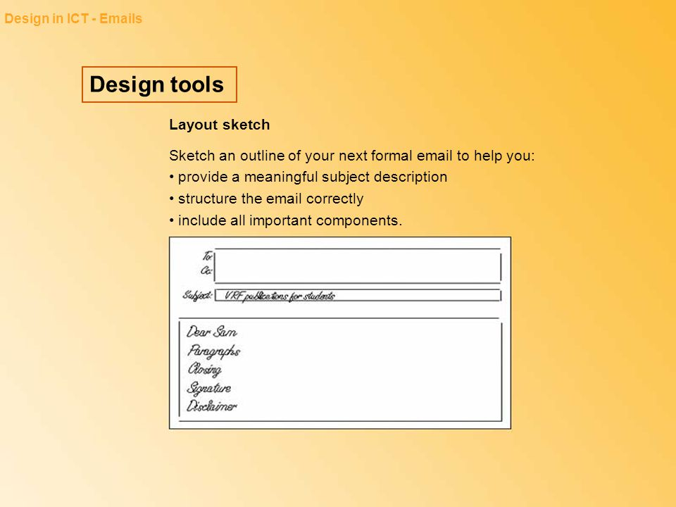 Design tools Layout sketch
