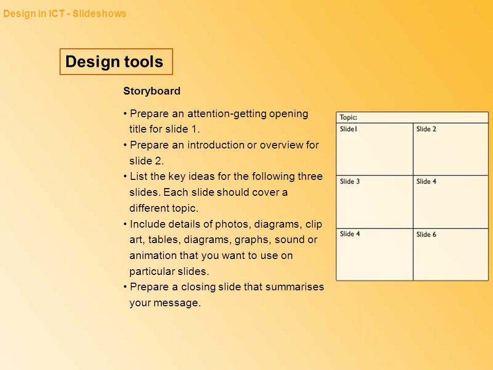 Design tools Storyboard