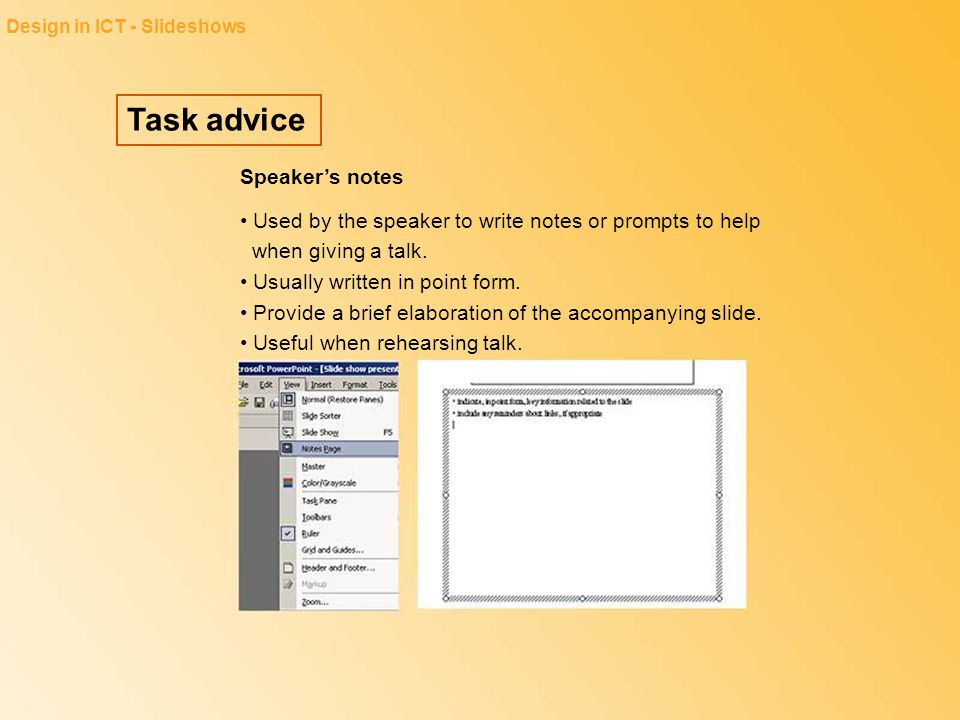 Task advice Speaker's notes