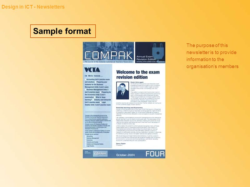 Sample format Design in ICT - Newsletters