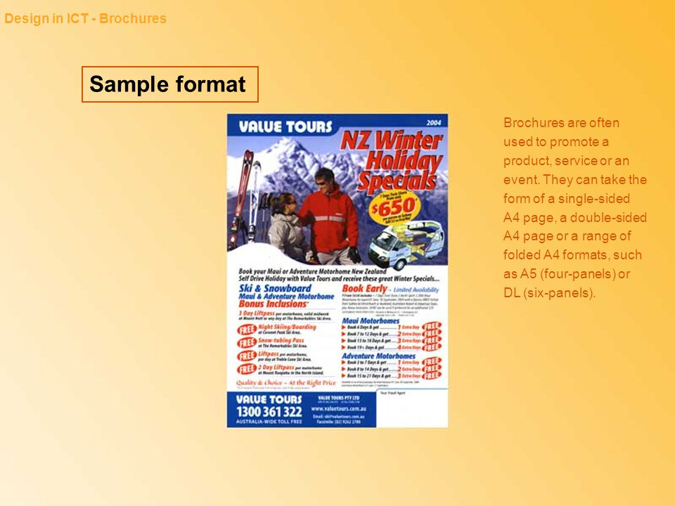 Sample format Design in ICT - Brochures