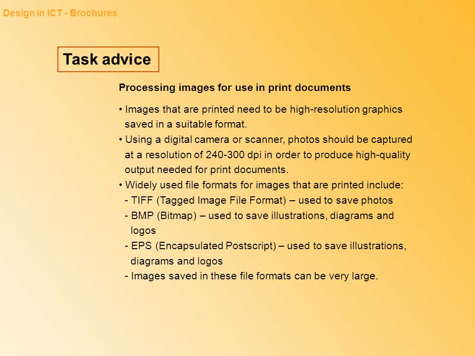 Task advice Processing images for use in print documents