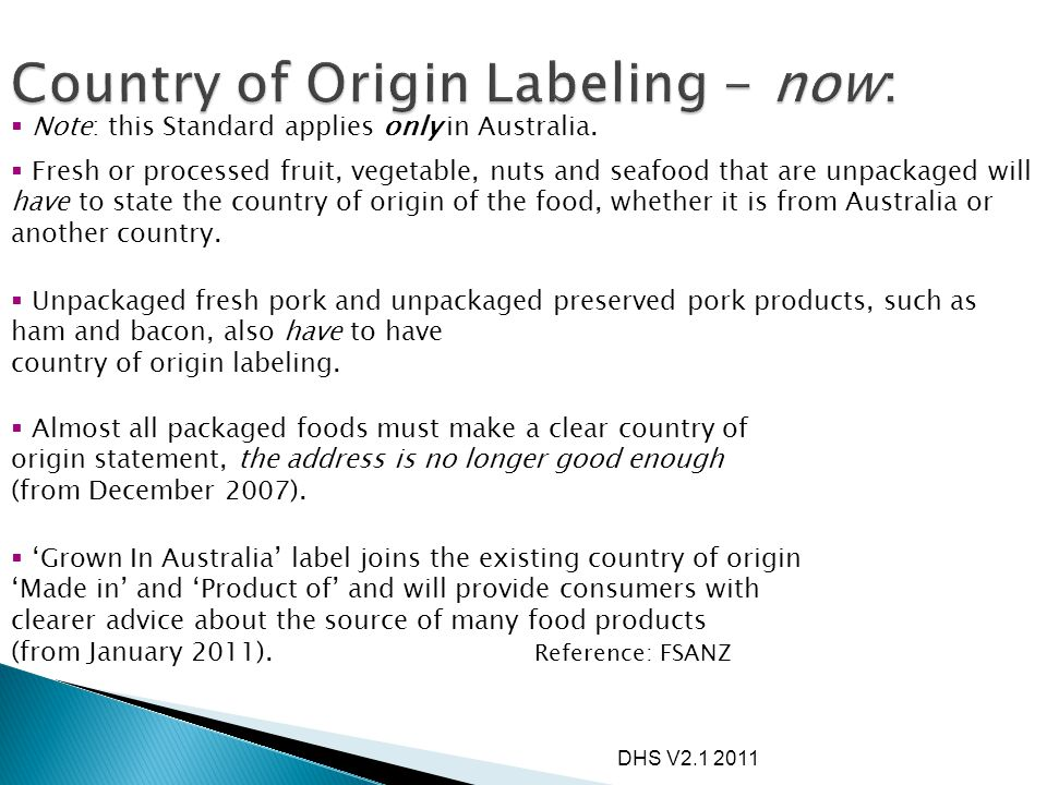 Country of Origin Labeling - now: