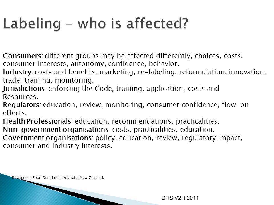 Labeling - who is affected