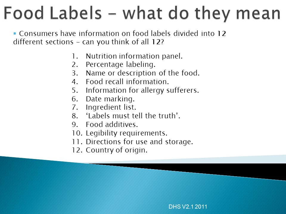 Food Labels - what do they mean