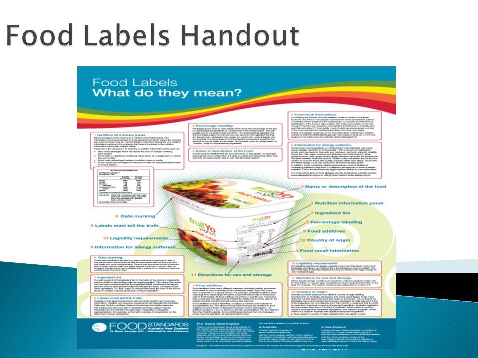 Food Labels Handout DHS V2.1 2011