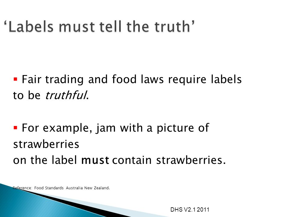 'Labels must tell the truth'