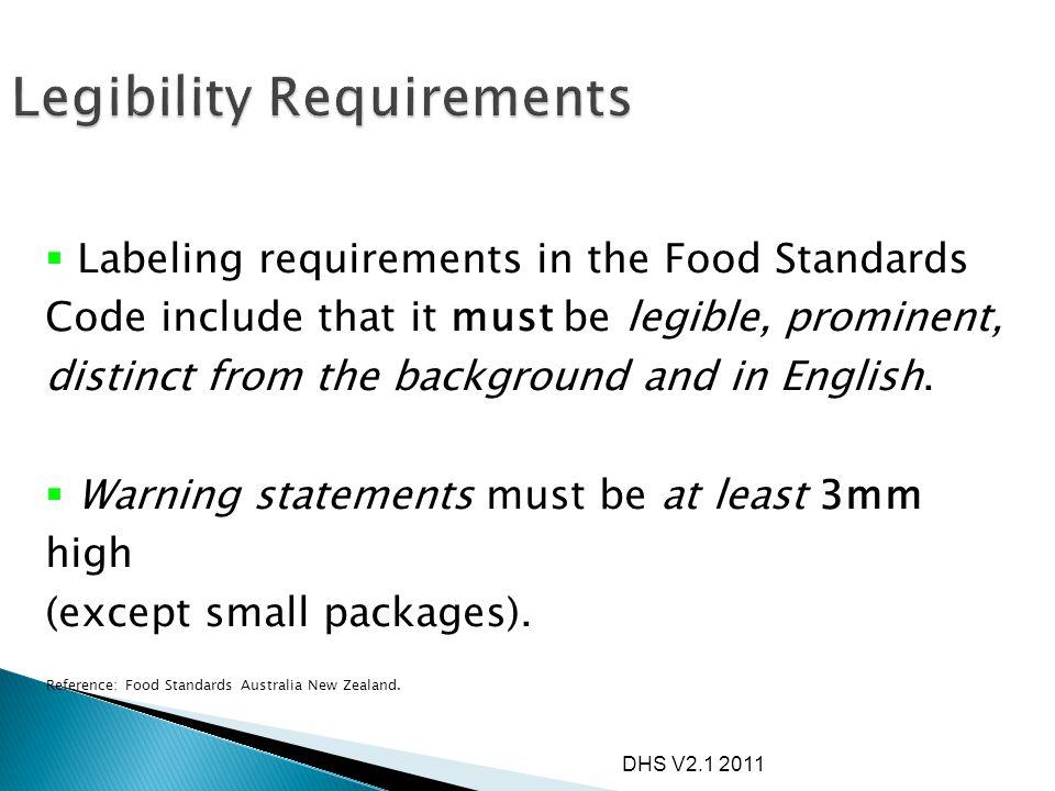 Legibility Requirements