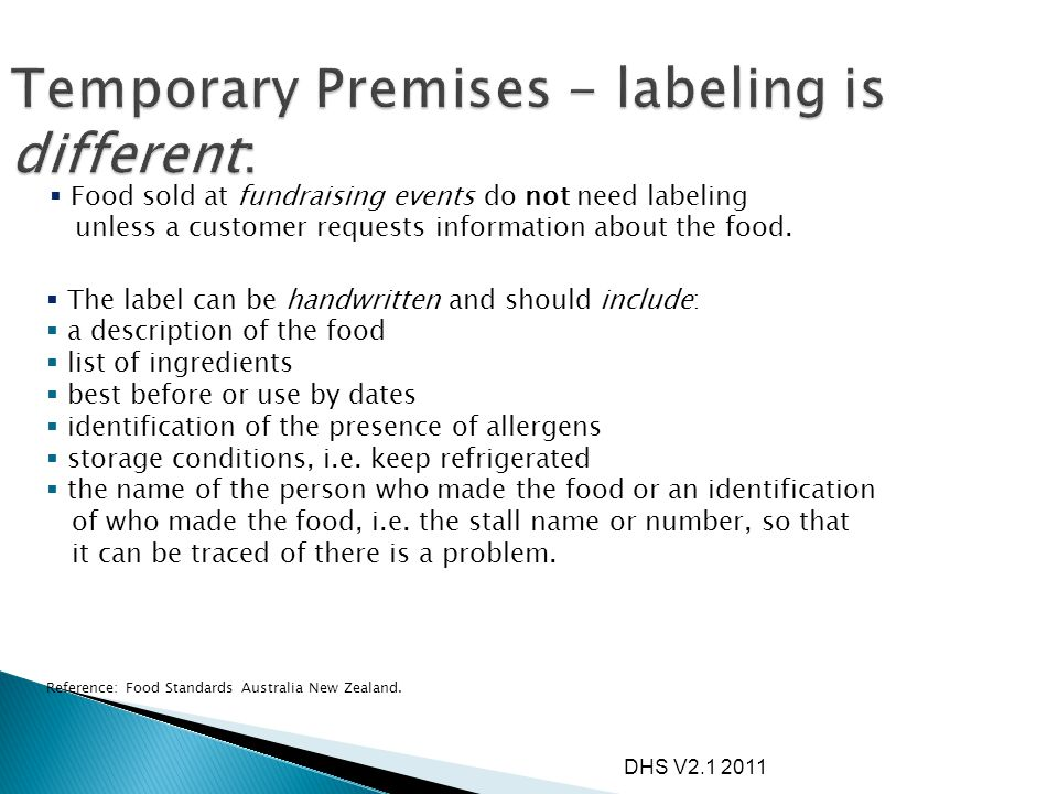 Temporary Premises - labeling is different: