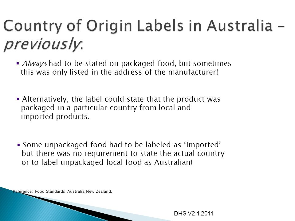 Country of Origin Labels in Australia - previously: