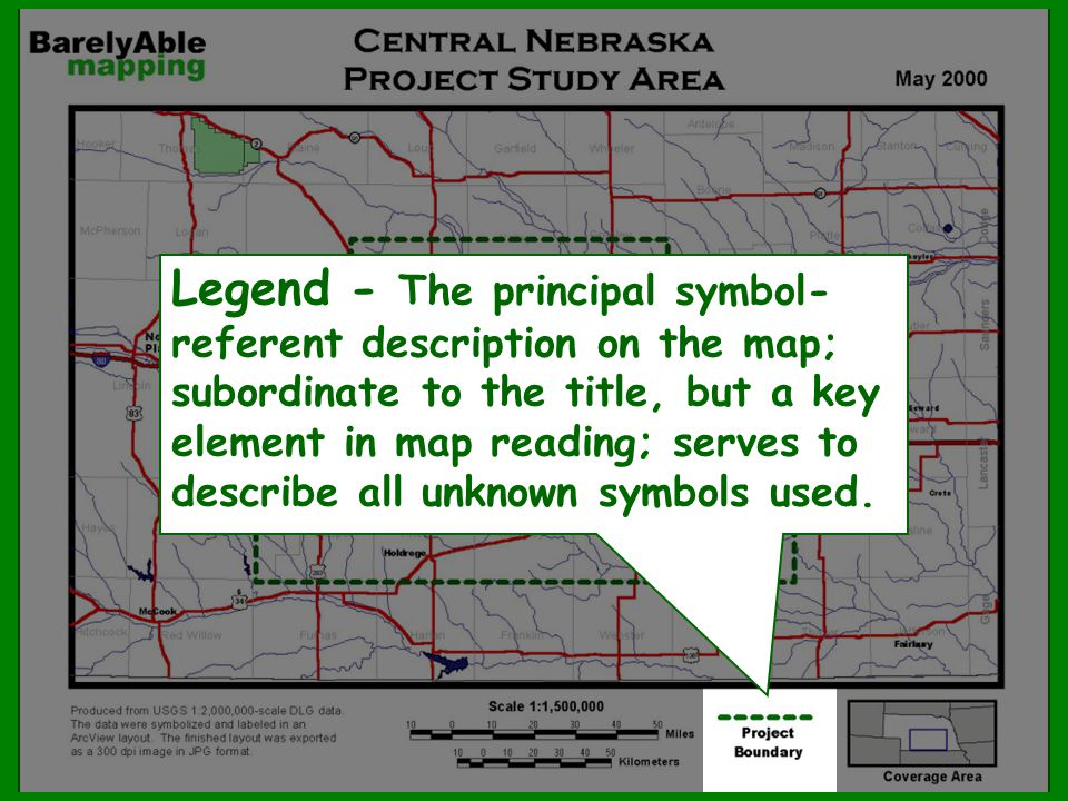 Legend - The principal symbol-referent description on the map; subordinate to the title, but a key element in map reading; serves to describe all unknown symbols used.