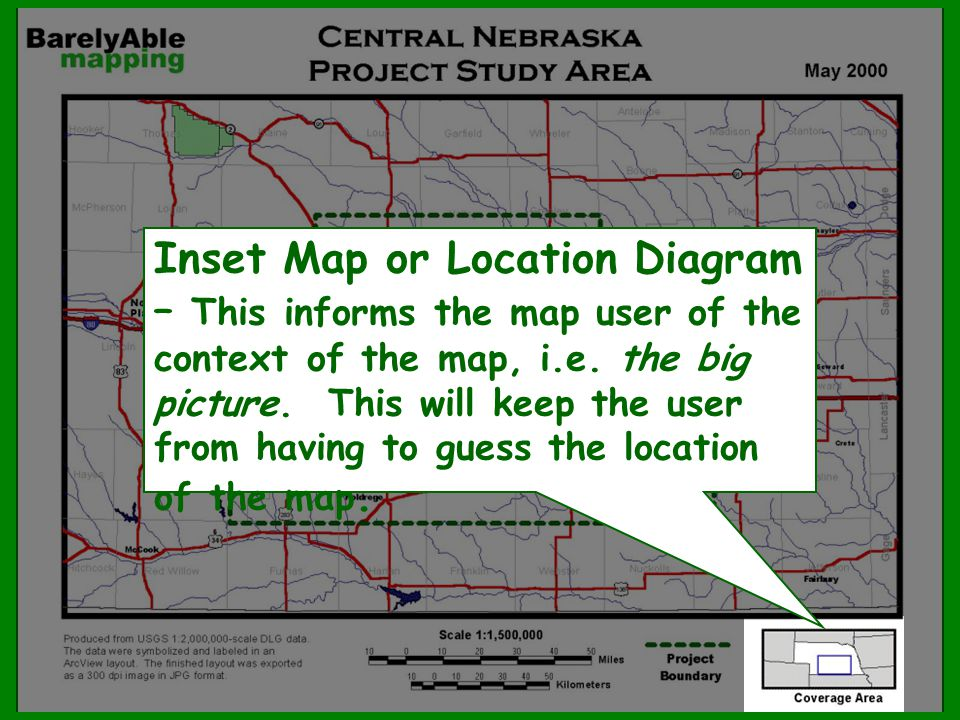 Inset Map or Location Diagram – This informs the map user of the context of the map, i.e.