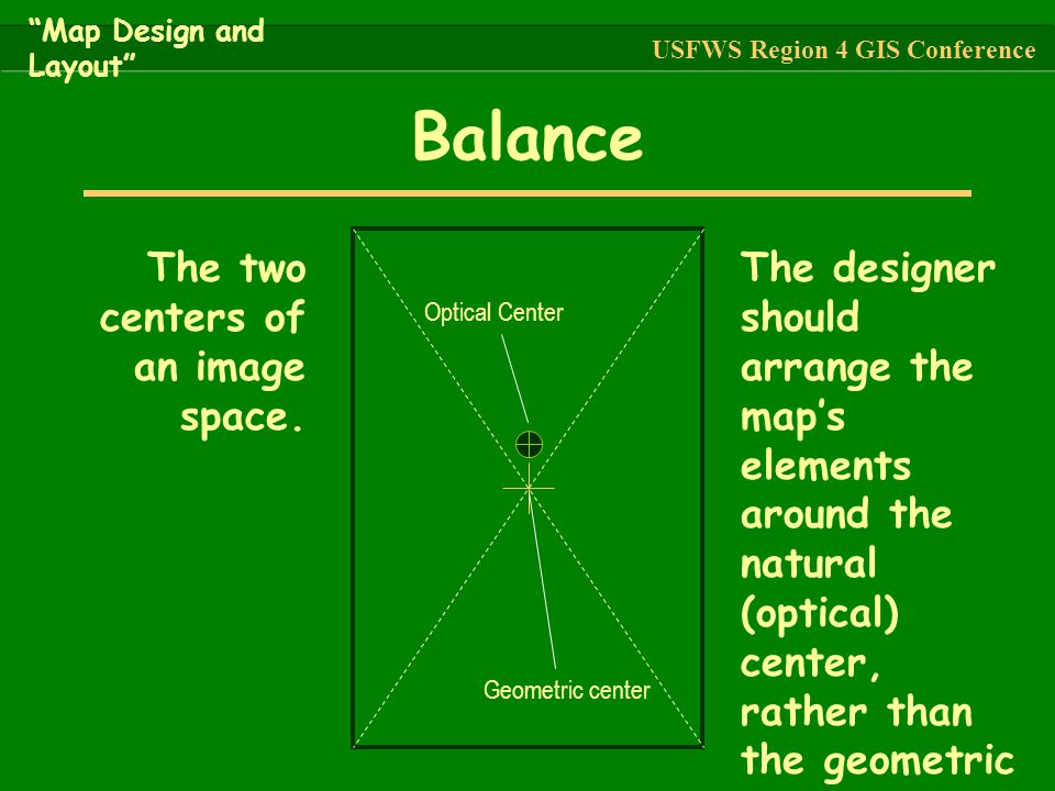 Balance The two centers of an image space.