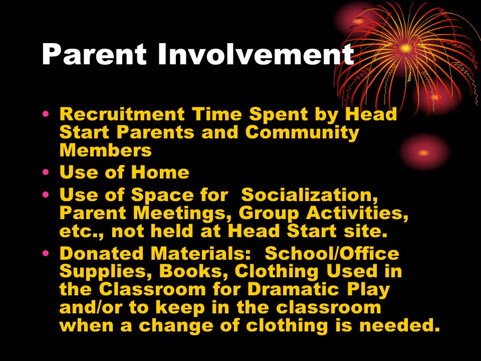 Parent Involvement Recruitment Time Spent by Head Start Parents and Community Members. Use of Home.
