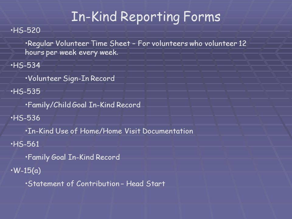 In-Kind Reporting Forms
