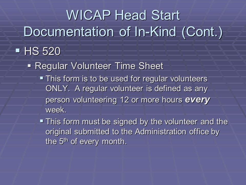 WICAP Head Start Documentation of In-Kind (Cont.)
