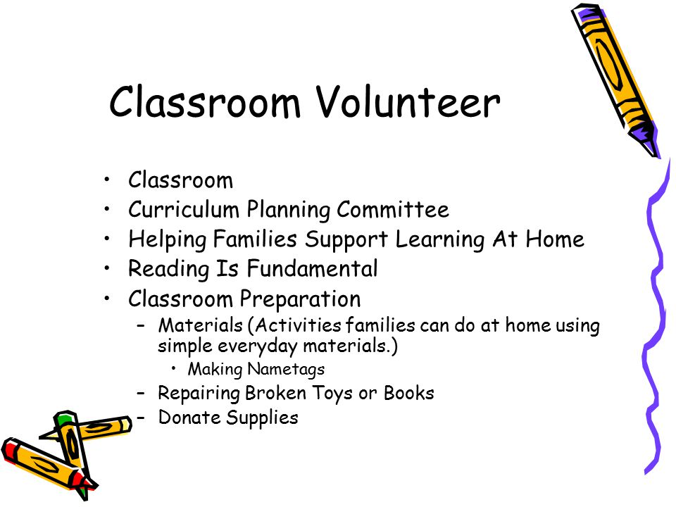 Classroom Volunteer Classroom Curriculum Planning Committee