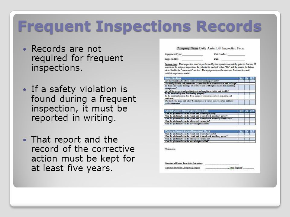 Frequent Inspections Records