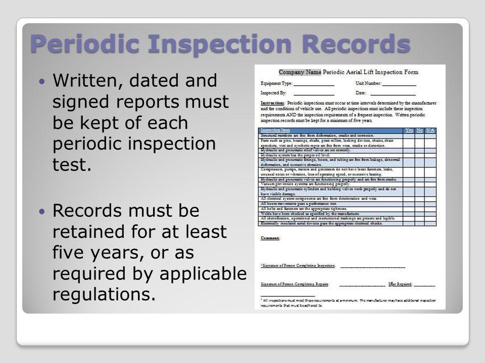 Periodic Inspection Records