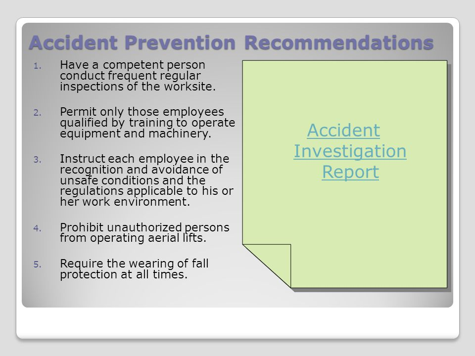 Accident Prevention Recommendations