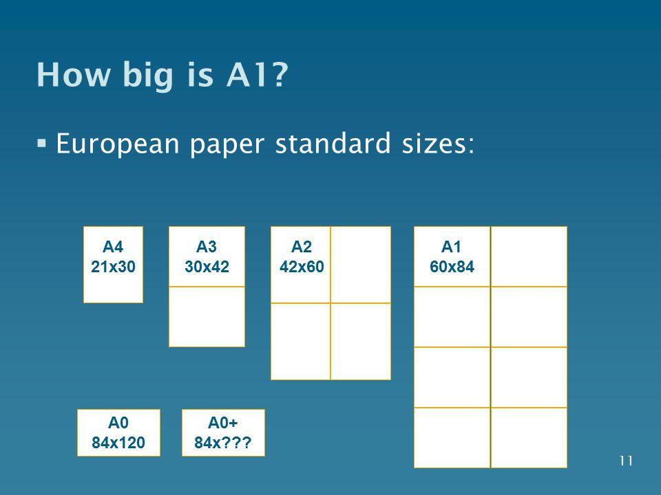 How big is A1 European paper standard sizes: A4 21x30 A3 30x42 A2
