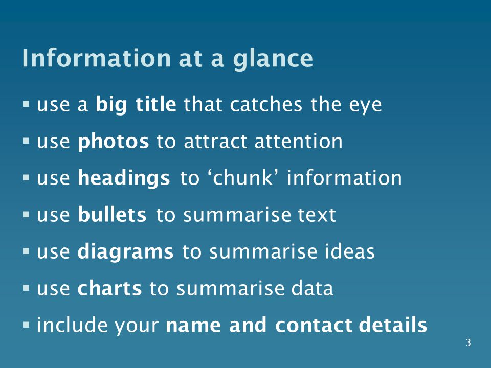 Information at a glance