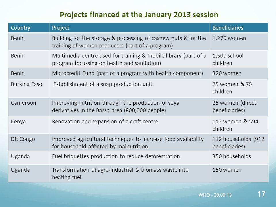 Projects financed at the January 2013 session