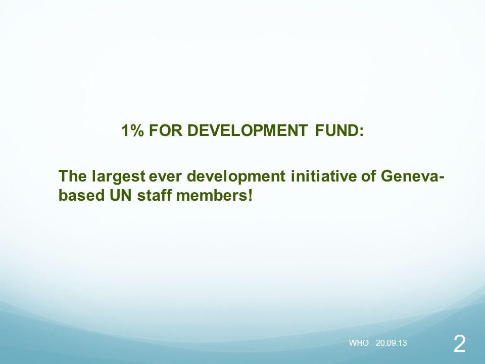 1% FOR DEVELOPMENT FUND:
