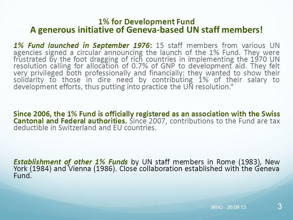 1% for Development Fund A generous initiative of Geneva-based UN staff members!