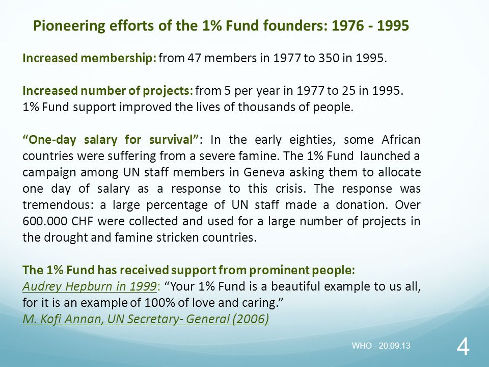 Pioneering efforts of the 1% Fund founders: 1976 - 1995