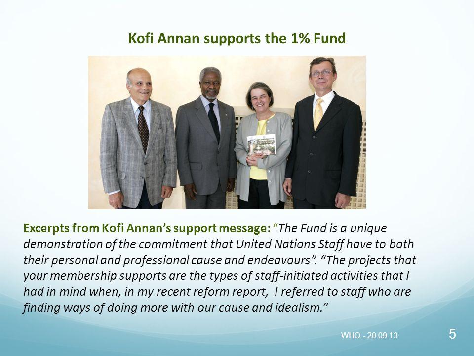 Kofi Annan supports the 1% Fund
