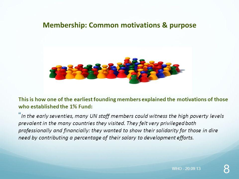 Membership: Common motivations & purpose