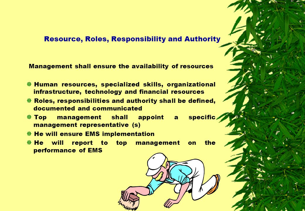 Resource, Roles, Responsibility and Authority