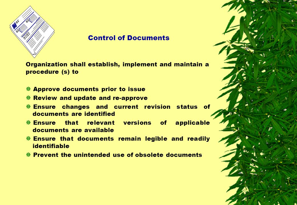 Control of Documents Organization shall establish, implement and maintain a procedure (s) to. Approve documents prior to issue.
