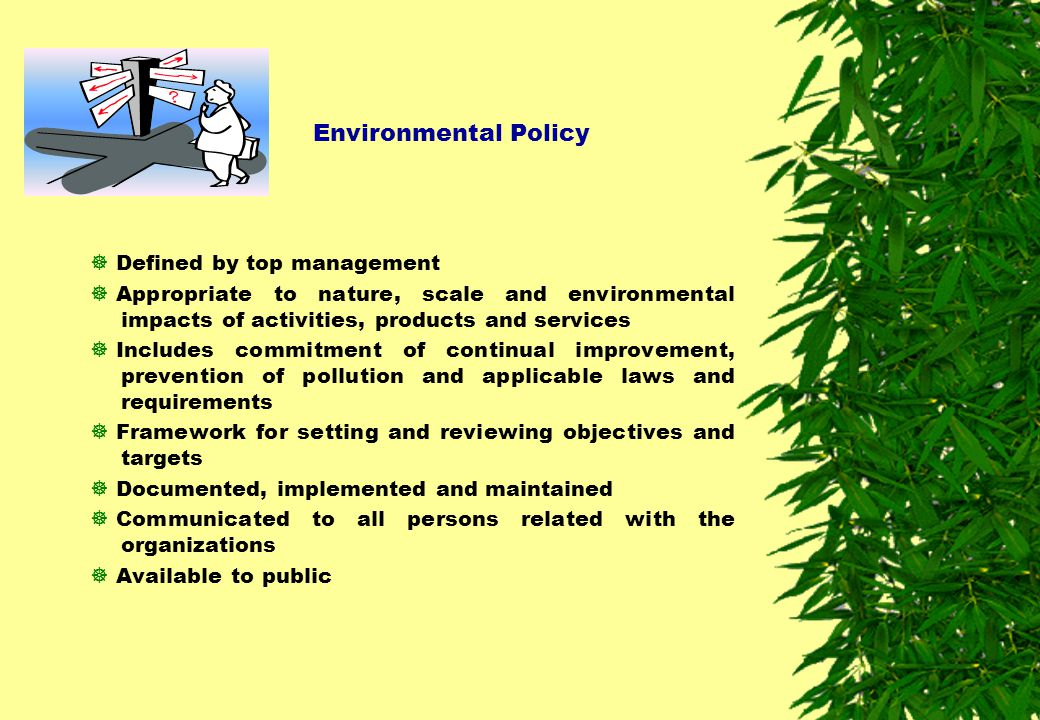 Environmental Policy Defined by top management