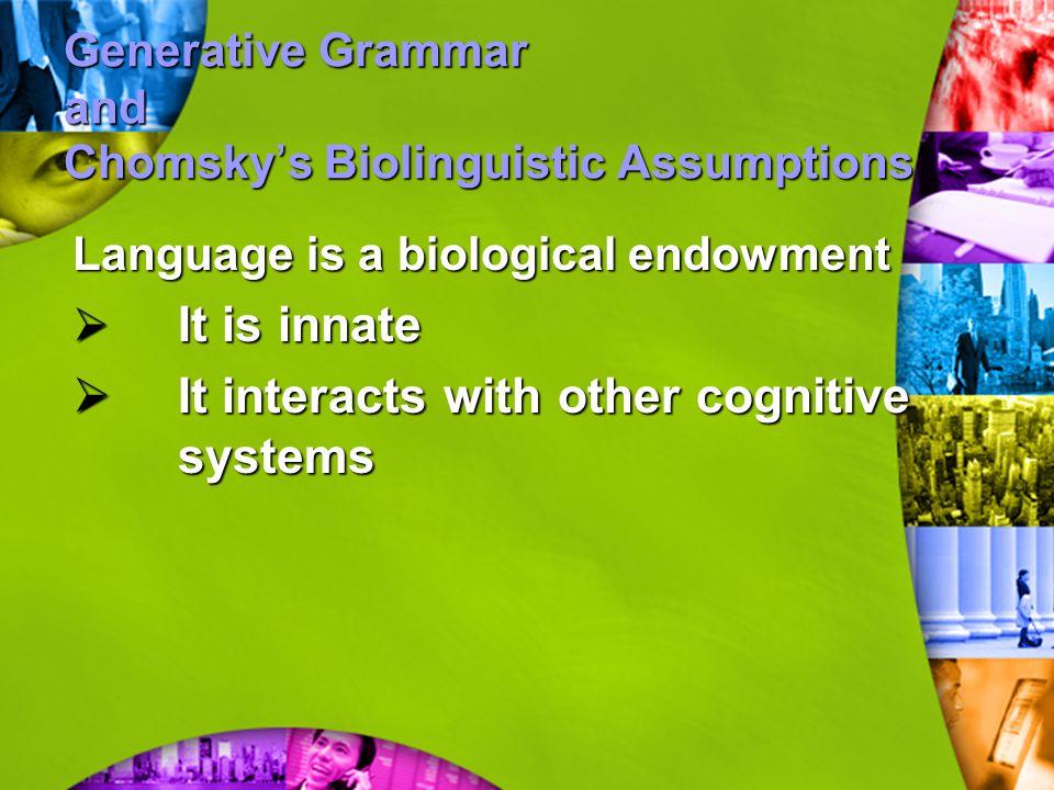 Generative Grammar and Chomsky's Biolinguistic Assumptions