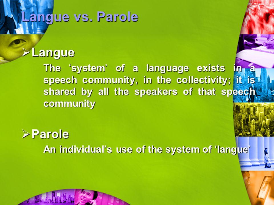 Langue vs. Parole Langue Parole