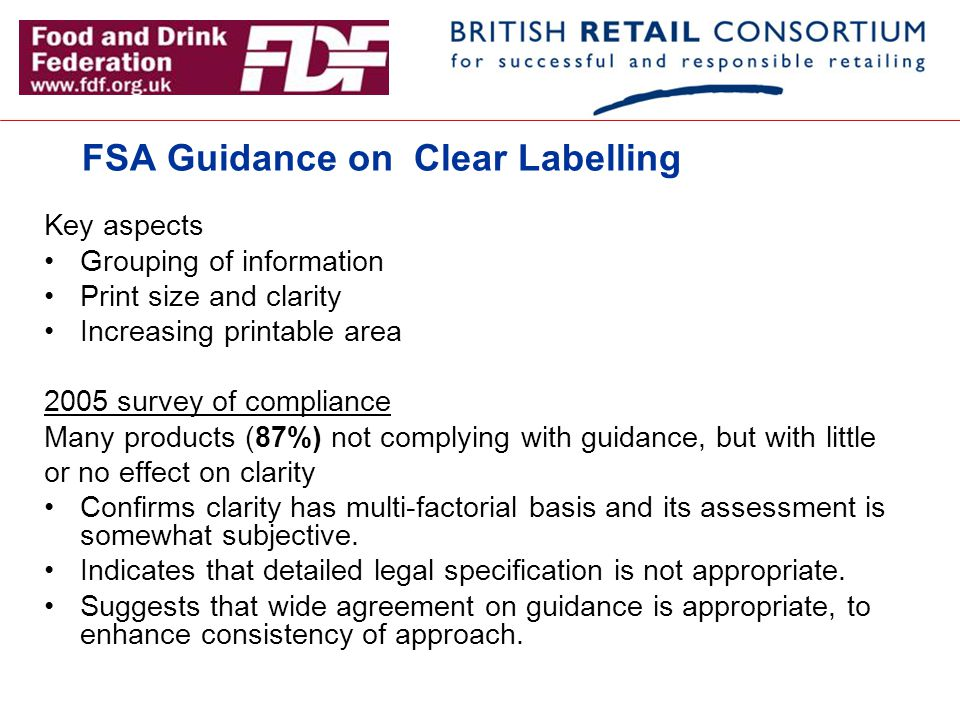FSA Guidance on Clear Labelling