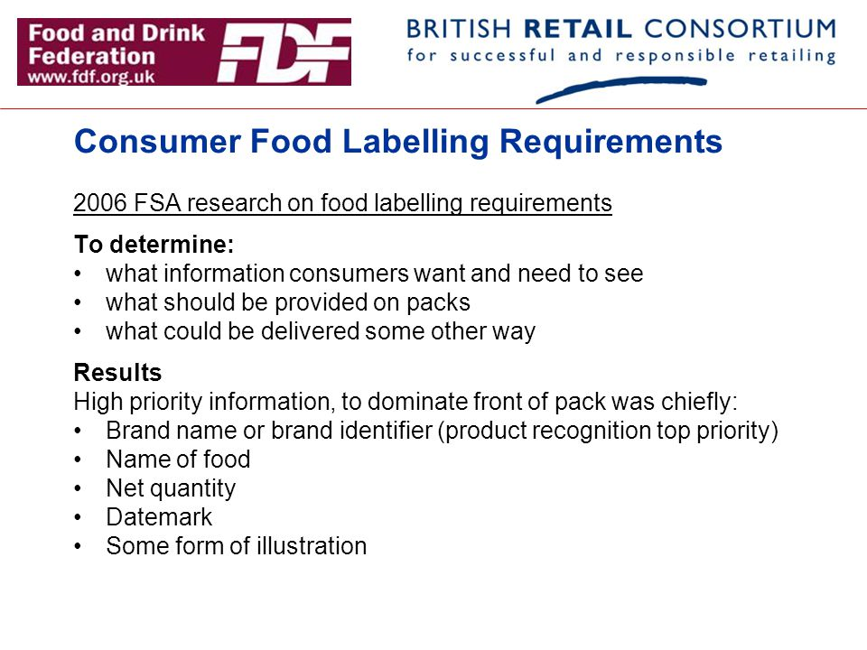 Consumer Food Labelling Requirements