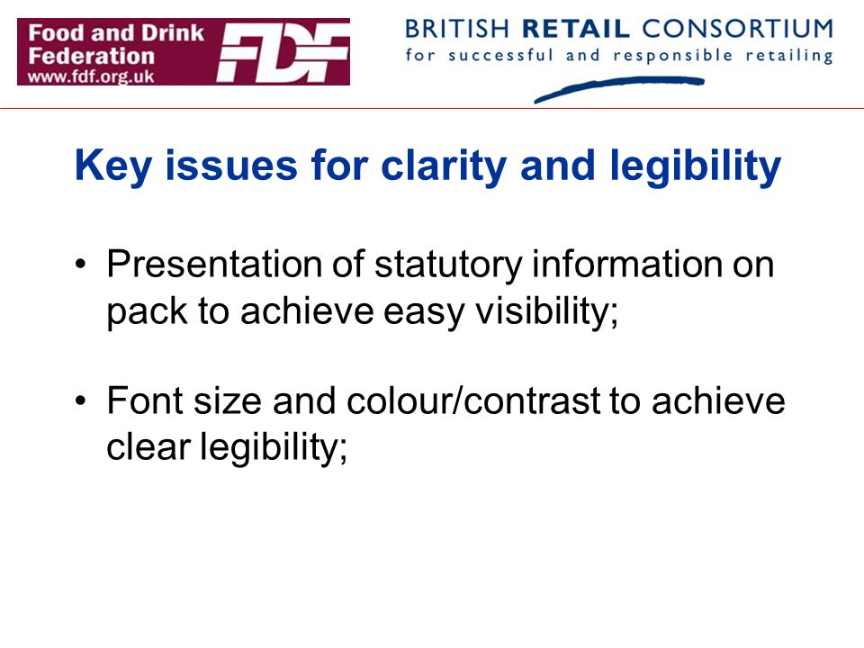 Key issues for clarity and legibility