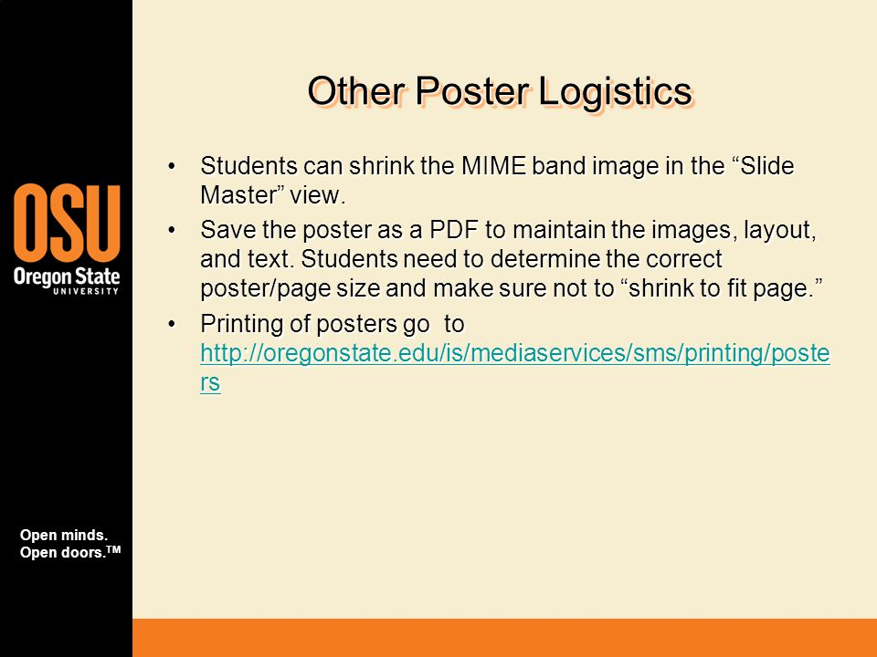 Other Poster Logistics
