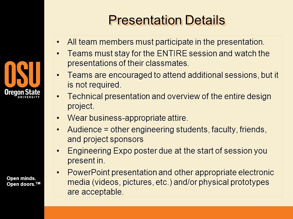 Presentation Details All team members must participate in the presentation.