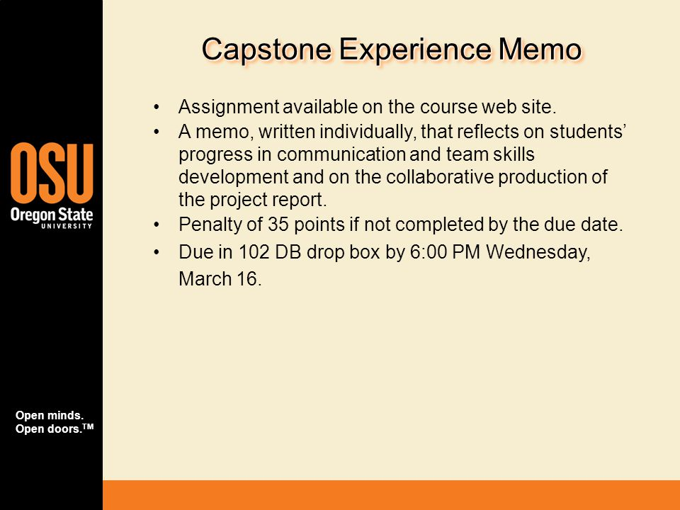 Capstone Experience Memo