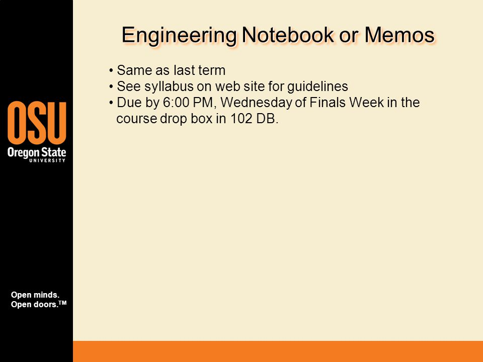Engineering Notebook or Memos