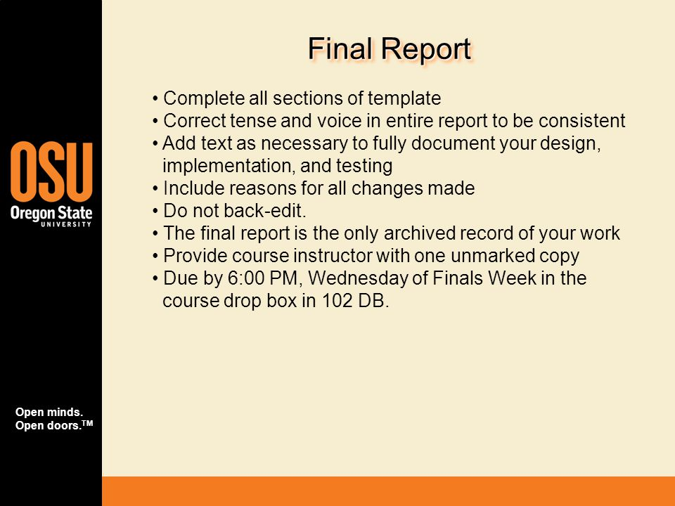 Final Report Complete all sections of template