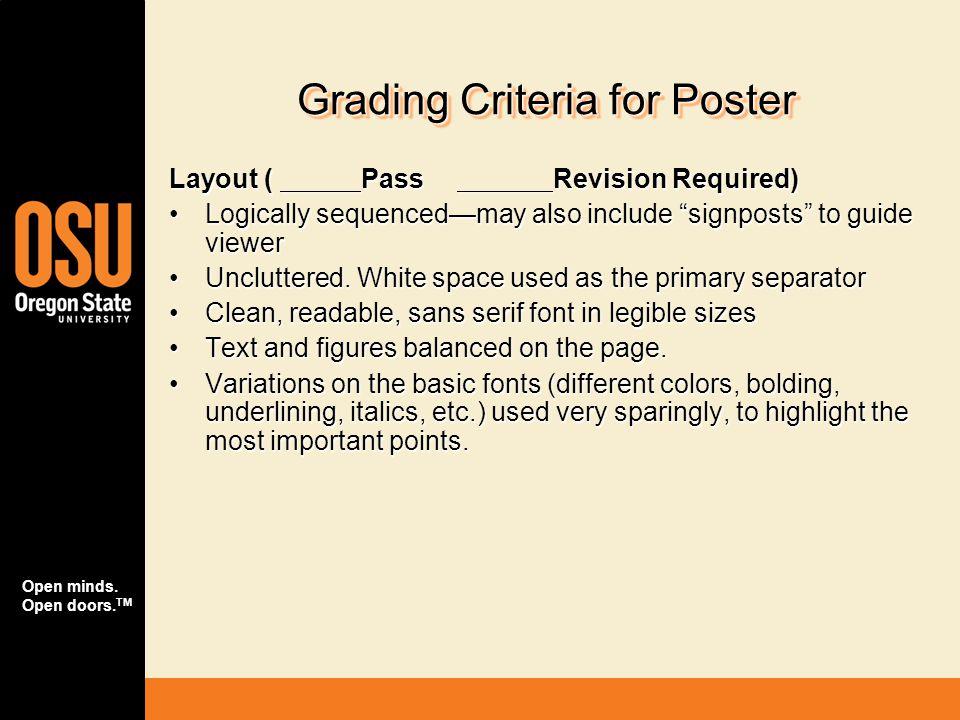 Grading Criteria for Poster