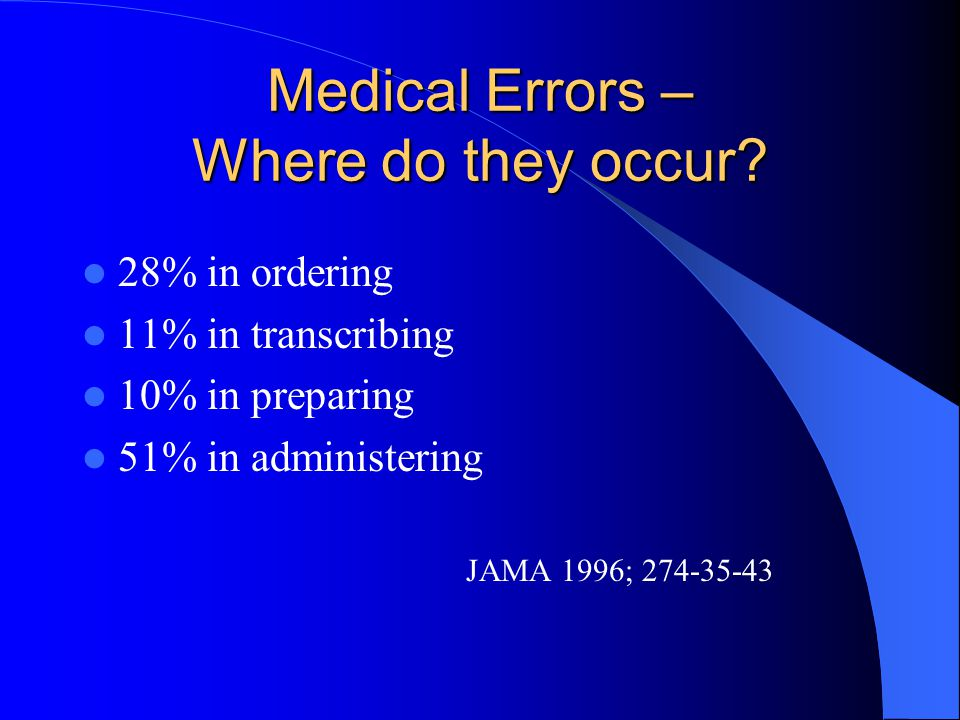 Medical Errors – Where do they occur