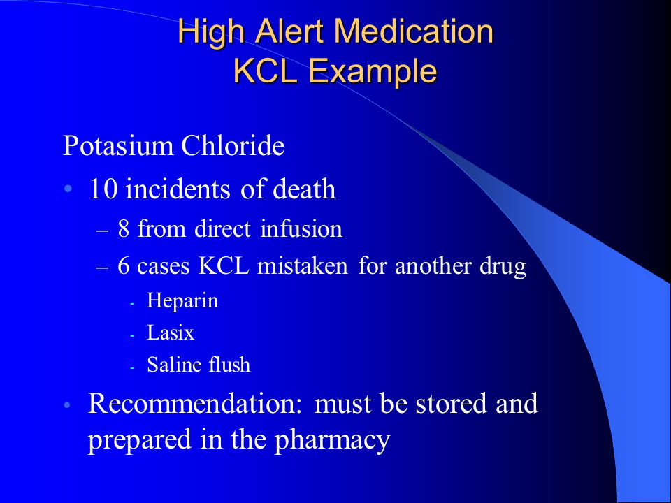 High Alert Medication KCL Example